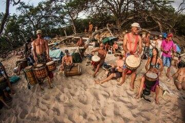 Maui Little Beach drum circle and dance party