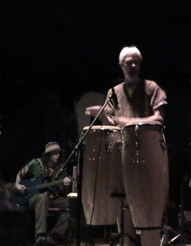 Nowick on congas, Bernie on bass, improv concert